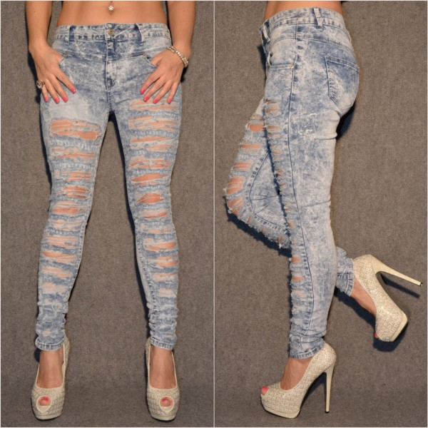 EXTREME Destroyed & Bleached High Waist stretch JEANS