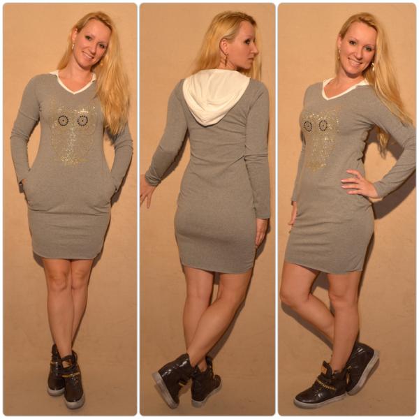 Lässiges Kleid mit Kapuze & Eule aus Strass/Nieten GRAU
