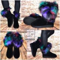 Super warme Winter BOOTS / Stiefel mit COLOR Kunstfellkragen / gefüttert SCHWARZ