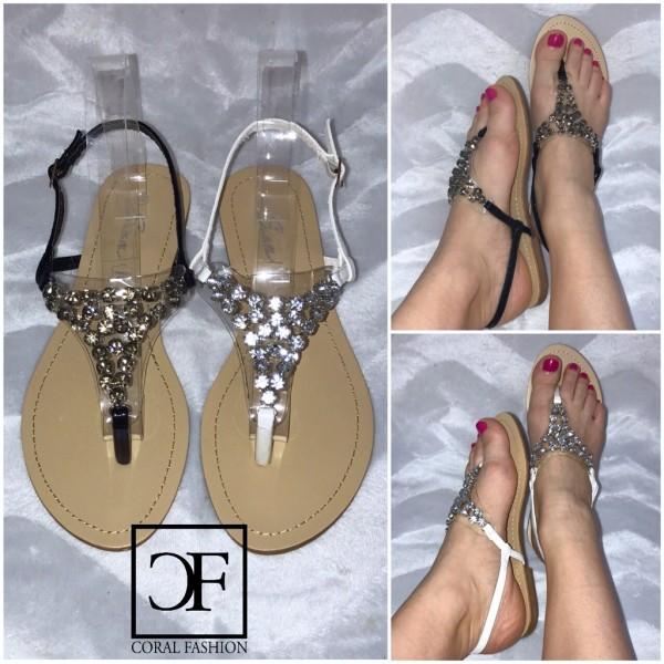 Ausgefallene Zehentrenner Sandaletten / Sandalen mit all over STRASS besetzt