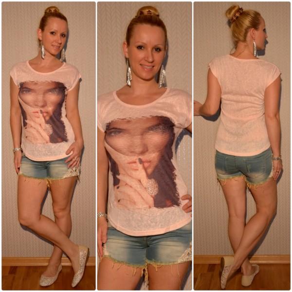 Stylisches Shirt Modell: Schleier LADY mit Ring ROSA