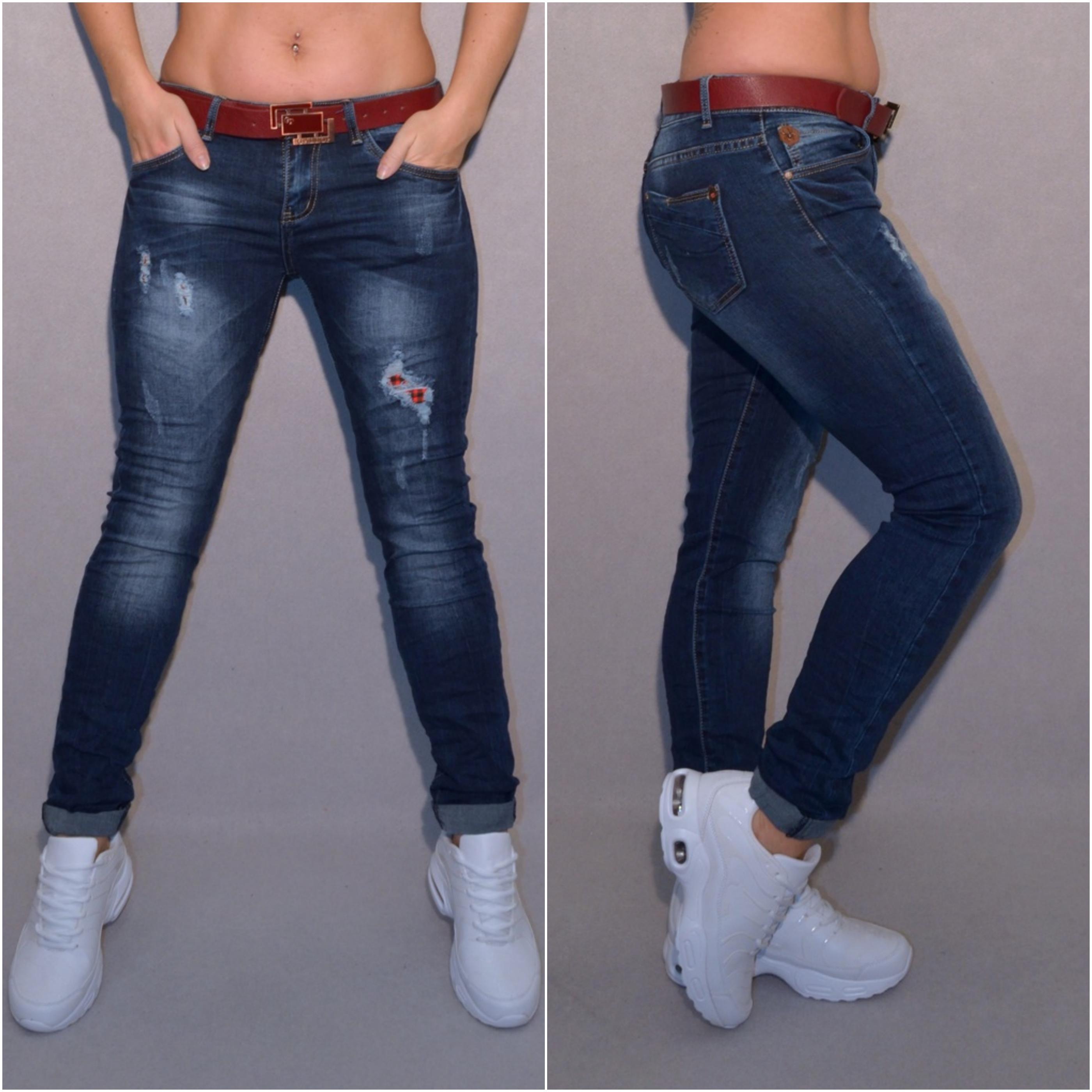 Bequeme stretch JEANS mit braunem Gürtel DUNKELBLAU   Jeans   Damenmode    Mode   Coral Fashion 4455a24edb
