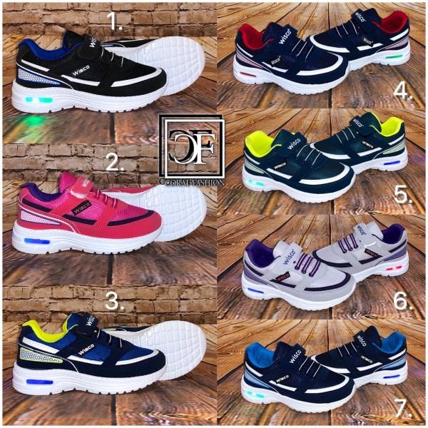 KINDER LUFT Sportschuhe / Sneakers mit Klettverschluss & BLINKLICHT (Größe 26-30)