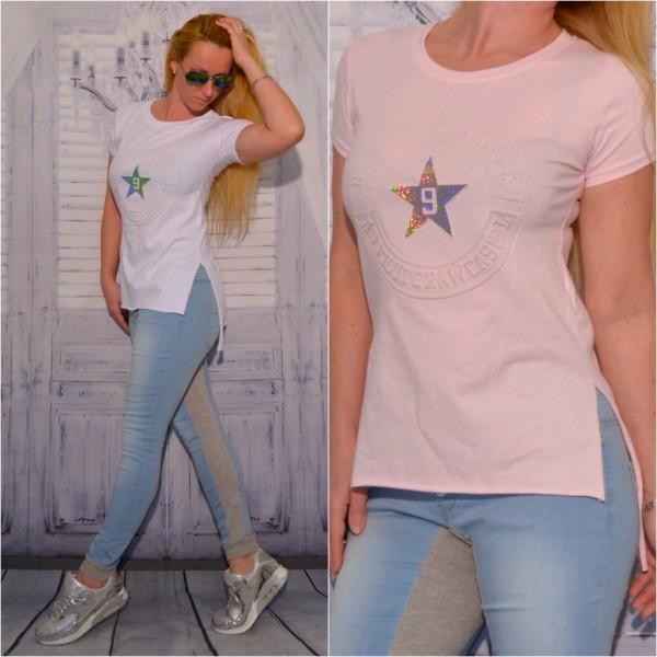 ITALY fashion Vokuhila T-Shirt / Shirt / Longshirt mit GLITZER 9 Star print