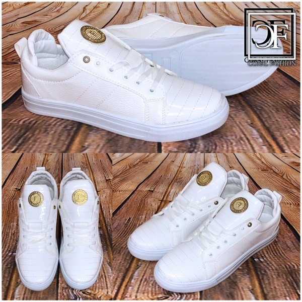HERREN Fashion LOW CUT Sportschuhe / Sneakers mit goldenem Emblem WEISS