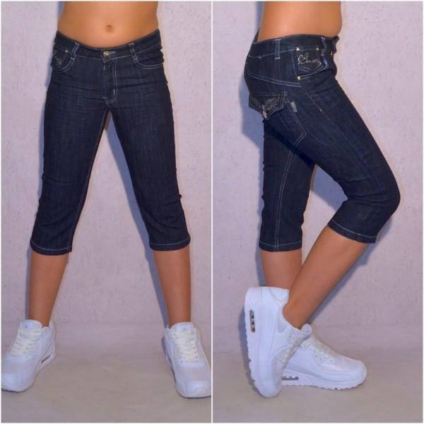 Fashion Mädchen Kinder stretch Denim Jeans 3/4 Capri Shorts mit weißem Gürtel Blau