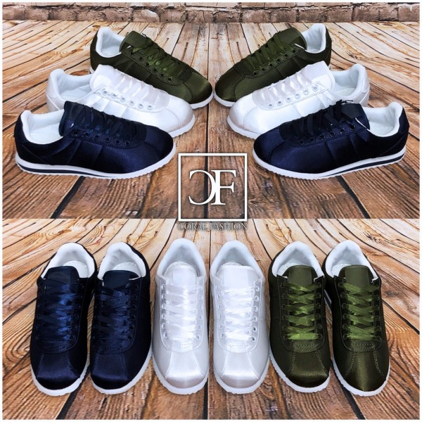 Super bequeme SILKY STRIPE Sportschuhe / Sneakers in Seiden Look