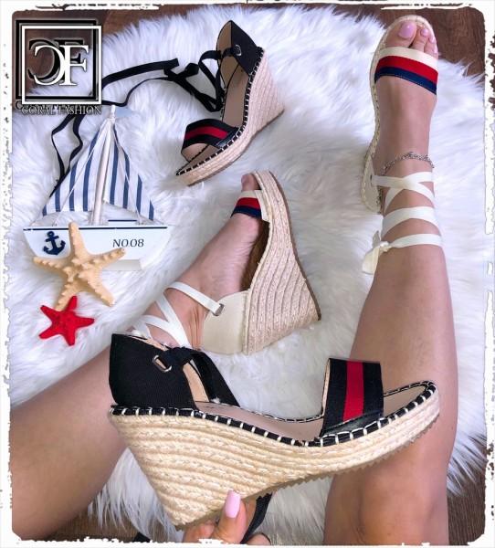 Damen Sandalen mit Keil Absatz Keilsandalen in Espadrille Look zum Schnüren