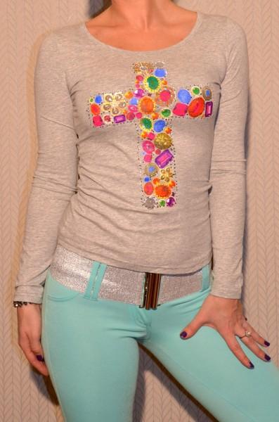 Langarm Shirt mit buntem KREUZ und Strass GRAU