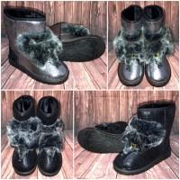 "Ausgefallene ""FACE"" Herbst-Winter BOOTS / Stiefel mit Kunstfell gefüttert"