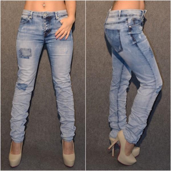 High Waist stretch Jeans in PATCHWORK Look mit Knöpfen