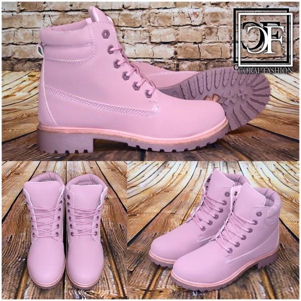 timeless design 5a871 b2768 Damen Herbst / Winter High Cut Boots Schnürboots Stiefeletten mit Kunstfell  gefüttert ROSA