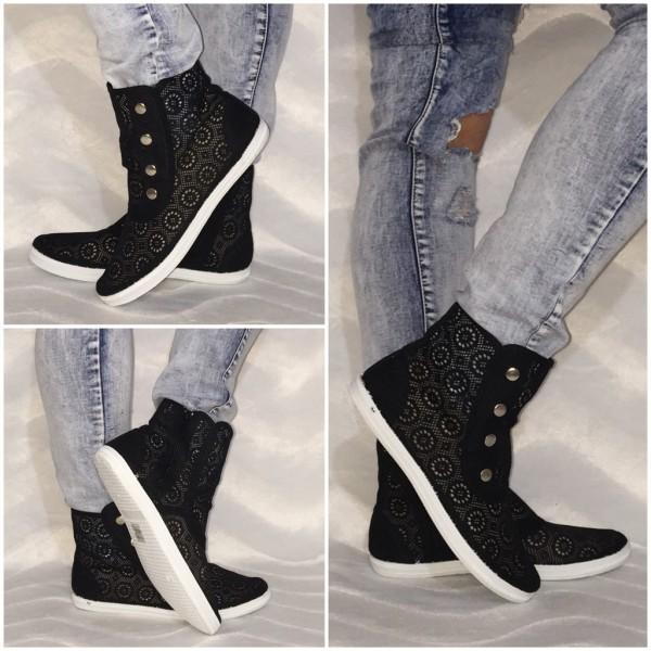 NETZ Sneakers mit Druckknöpfen SCHWARZ