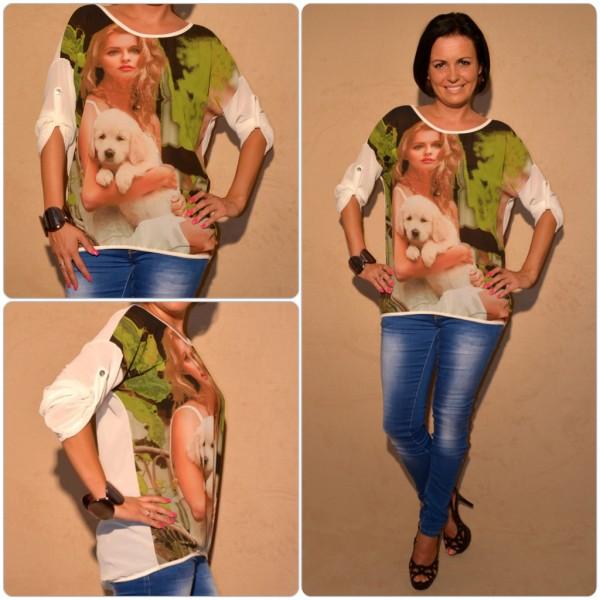 Luftige Tunika Modell: LADY mit WELPE WEISS