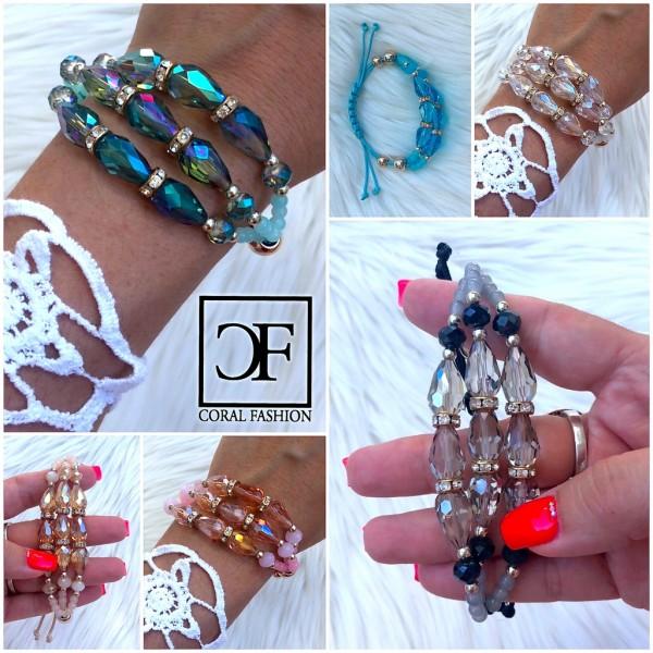 Fashion Schmuck Armband mit 3 Reihen Strass, Perlen & Zugband in 6 Farben