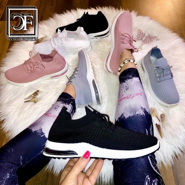 Damen BASIC Knitted LUFT Look Sportschuhe Sneakers in 4 Farben