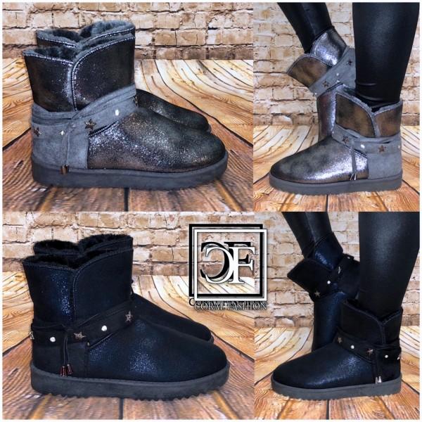 reputable site 43f0b b9c0f Damen Winter Stiefel Boots Stiefeletten Strass & Sterne mit Kunstfell  gefüttert