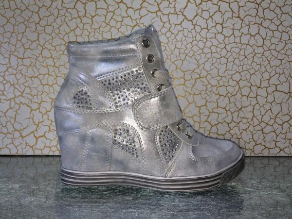 Modische Keil Schnür Sneakers mit Strass SILBER