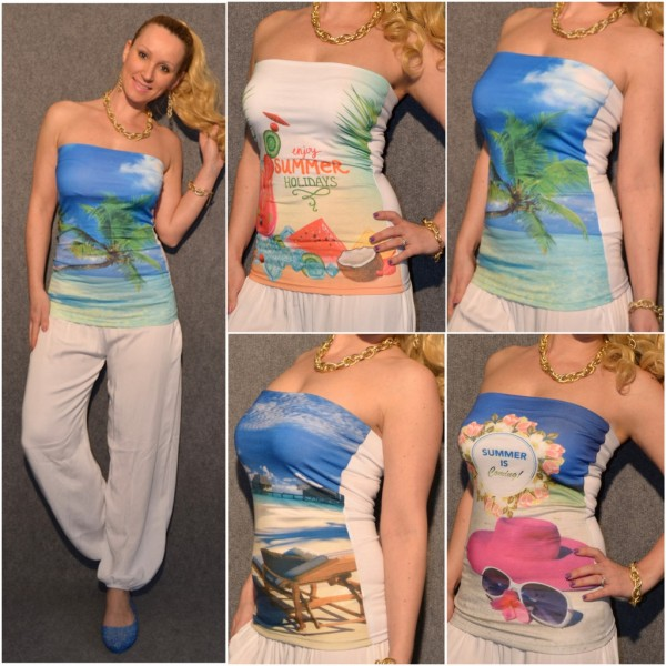 Bandeau Top mit Holiday print