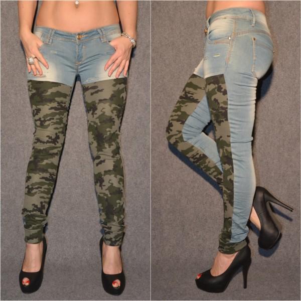 Stretch Jeans mit CAMOUFLAGE Einsatz vorne