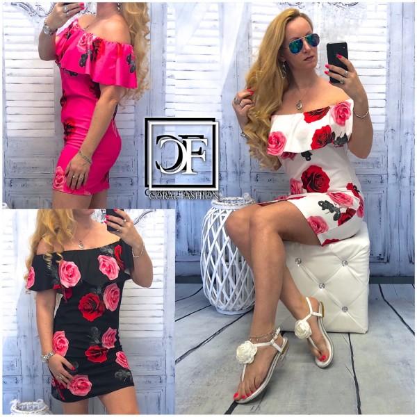 Damen Italy Kleid Sommerkleid Schulterfrei mit Rüschen & Blumen Rosen Print