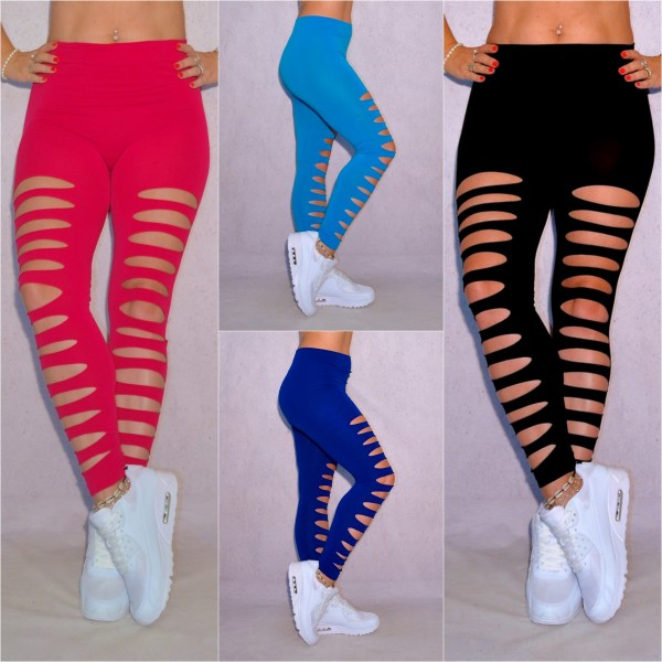 Sexy Damen stretch Leggings Leggins Hose DESTROYED mit Schlitze vorne