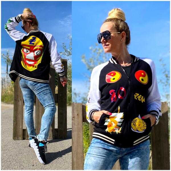 Italy Damen College Zippjacke Jacke mit Yin & Yang ZEN Print / Marke PLEASE Fashion
