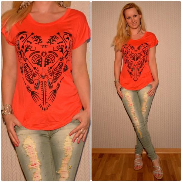 Stylisches Shirt Modell: HERZ / TOTENKOPF Print ROT