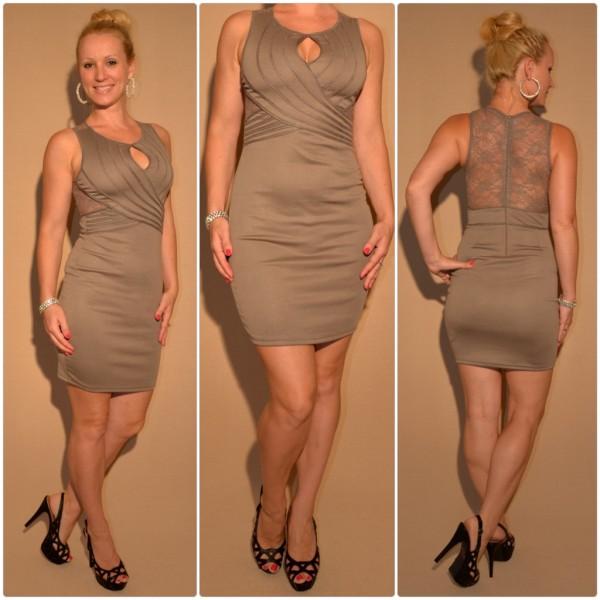 Mini Kleid mit Spitze & außergewöhnlichem Ausschnitt BRAUN