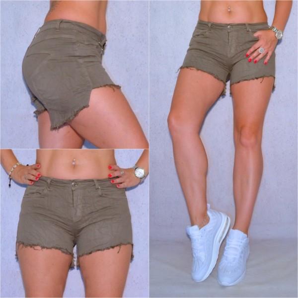 Sexy Damen stretch Jeans Shorts Hotpants Denim Hose asymmetrisch STAR Olivgrün