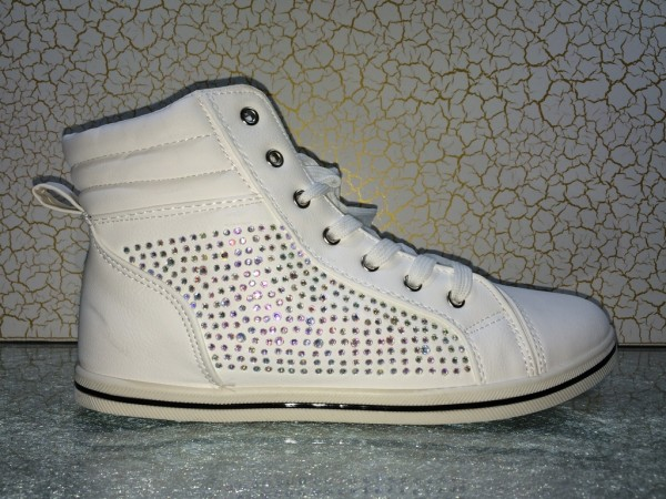 Stylische Mid Cut SNEAKERS mit All Over Strass WEISS
