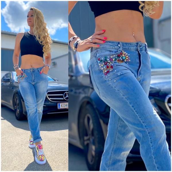 Italy Damen Denim JEANS Hose mit buntem Strass BLAU / Marke PLEASE Fashion