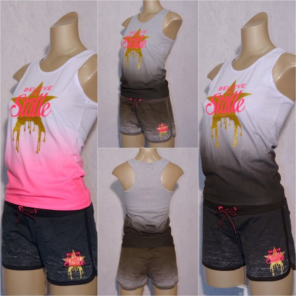 Damen Sommer SET Zweifarbig 2 COLOR separat bestellbar Tanktop & Shorts Hot Pants BELIEVE in Stalle