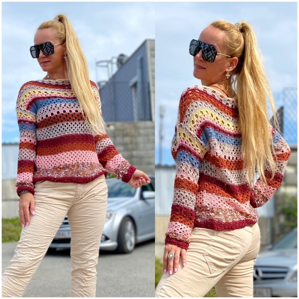 Italy Damen Strickpullover mit Lochmuster Bunt / Marke PLEASE Fashion