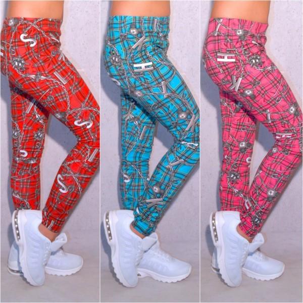 Coole Kinder / Mädchen Leggings stretch Hose mit Kettchen & Buchstaben Muster kariert