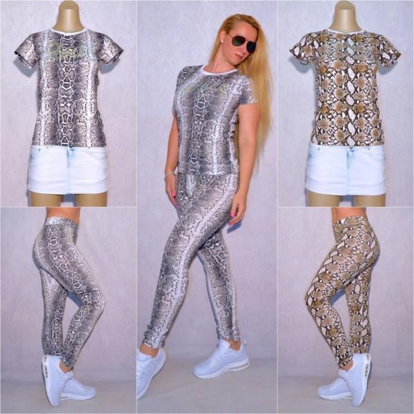 Damen TREND Set T-SHIRT & LEGGINGS Hose stretch / separat bestellbar Snake Schlangen Muster