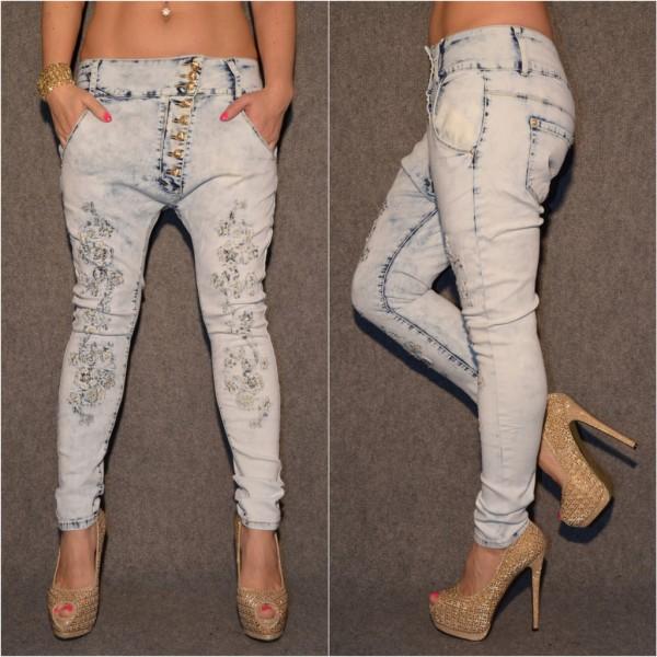 BLEACHED Look stretch HAREMS Jeans mit Stickerei & Strass ICE BLUE