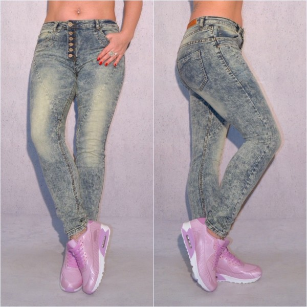 Damen FASHION stretch JEANS Denim Hose STONEWASHED mit 6 Knöpfen BLAU