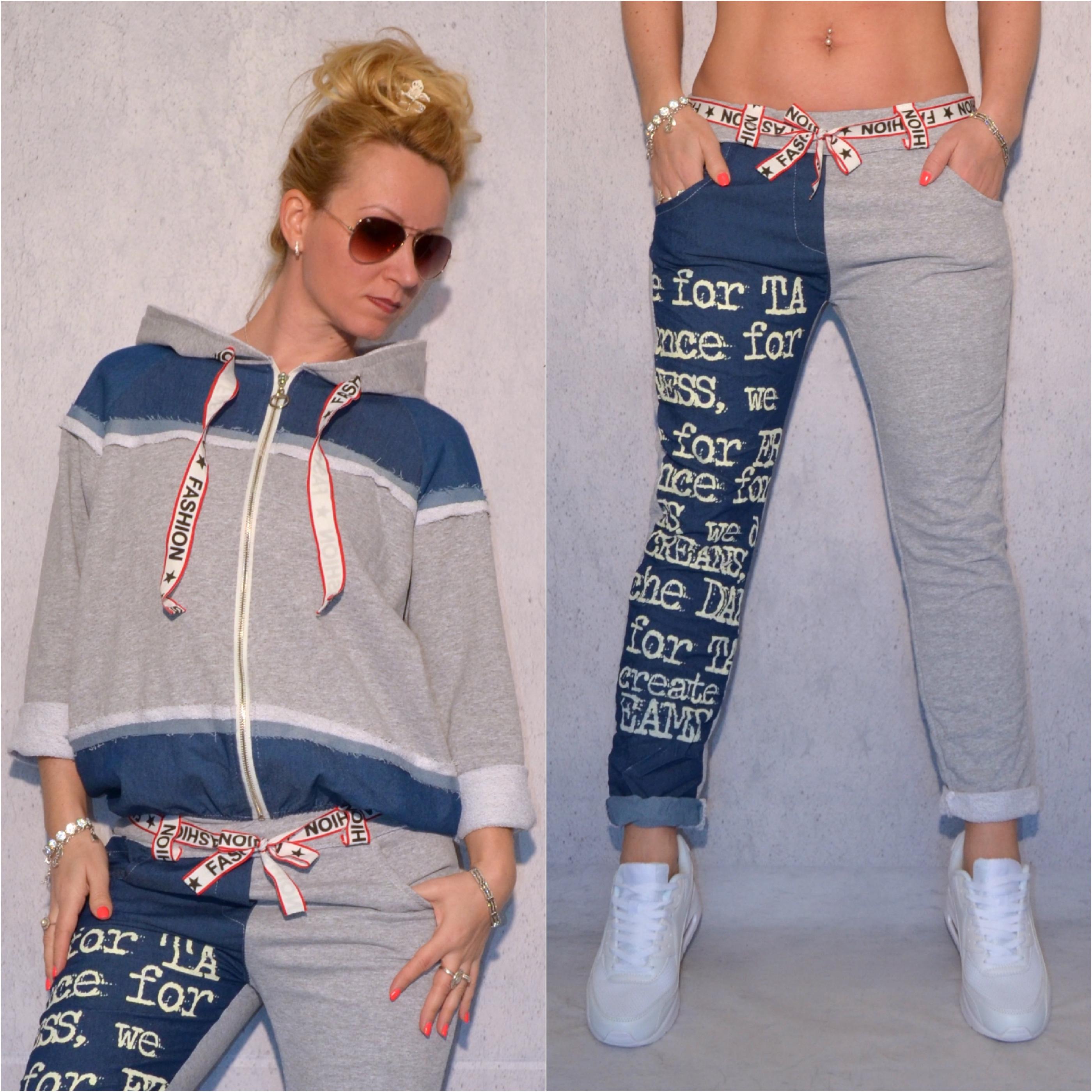 Coole Denim LOOK Jersey Freizeit Hose mit Kängurutasche