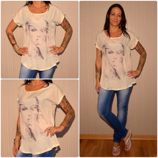 Stylisches Shirt Modell: Strasshand Lady CREME