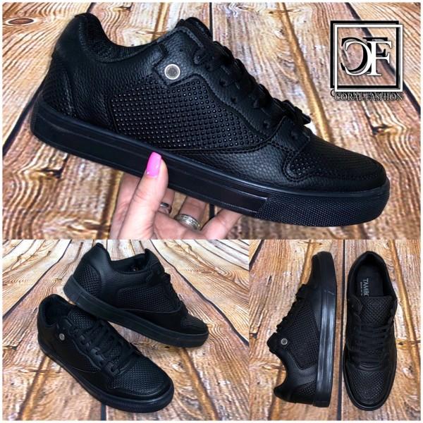 Bequeme HERREN Schuhe Lowcut Sneakers Sportschuhe Kunstleder SCHWARZ