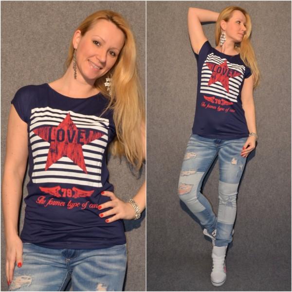 LOVE / Star T-Shirt DUNKELBLAU