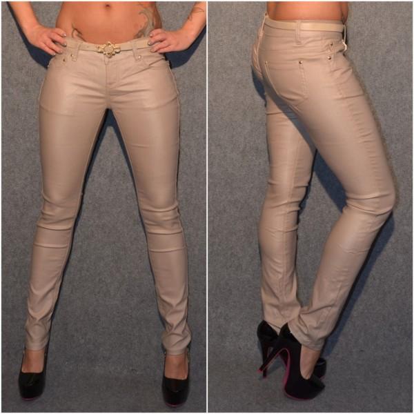 *ANGEBOT Fashion stretch Hose mit Gürtel HELLBRAUN