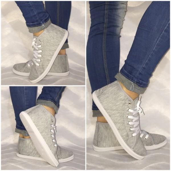 JERSEY Sneakers mit Steppung HELL-GRAU