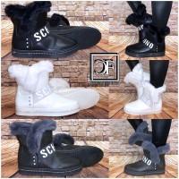 Damen SCHINO Winter Stiefel Fashion STRASS Boots mit Kunstfell gefüttert