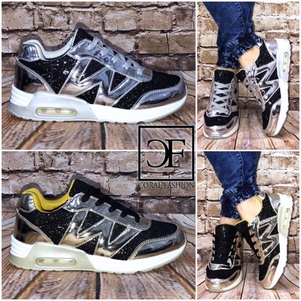 "Bequeme Glitzer / Lack ""W"" LUFT Sportschuhe / Sneakers"