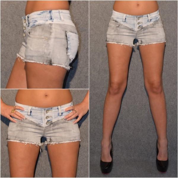 Stretch Jeans SHORTS / HOT PANTS - GRAU / Blau