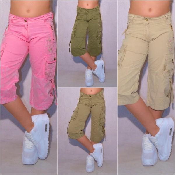 Kinder Mädchen Fashion kurze Capri Hose 3/4 Länge mit Stickerei & Seitentaschen