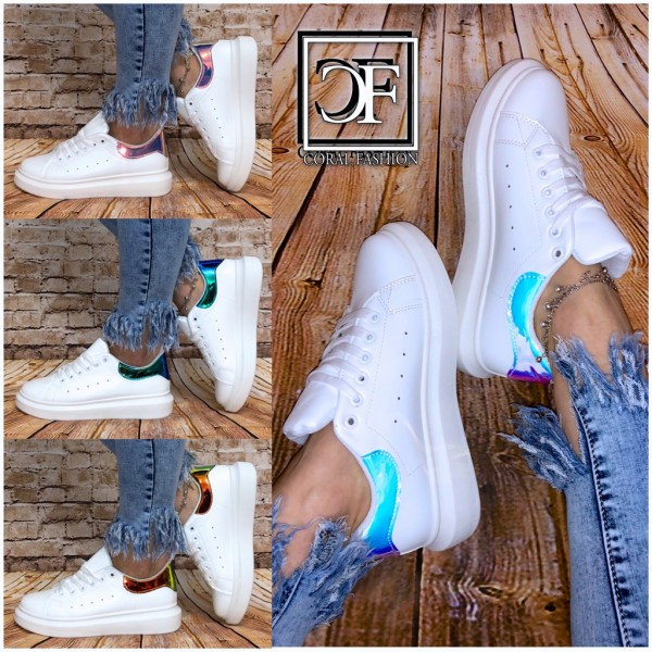 Damen TREND Kunstleder Low Cut Sportschuhe Sneakers HOLO & Basic Color