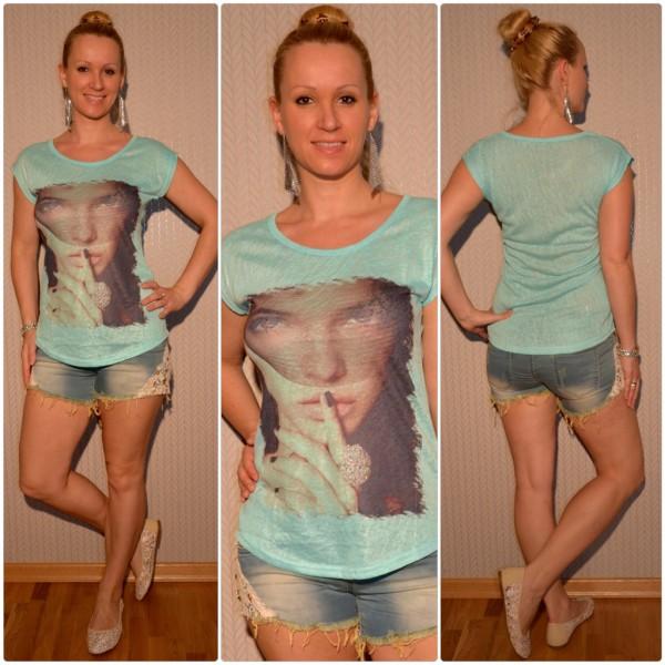 Stylisches Shirt Modell: Schleier LADY mit Ring TÜRKIS